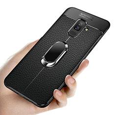 Samsung Galaxy A6 Plus用極薄ソフトケース シリコンケース 耐衝撃 全面保護 アンド指輪 マグネット式 A02 サムスン ブラック
