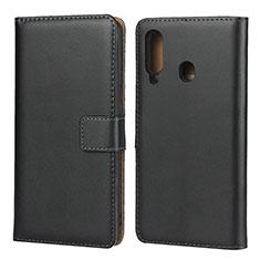 Samsung Galaxy A60用手帳型 レザーケース スタンド サムスン ブラック
