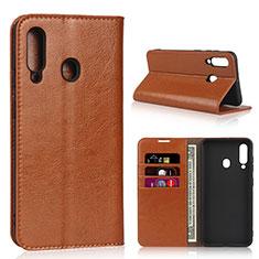 Samsung Galaxy A60用手帳型 レザーケース スタンド カバー L01 サムスン オレンジ