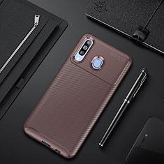 Samsung Galaxy A60用シリコンケース ソフトタッチラバー ツイル カバー サムスン ブラウン