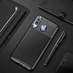 Samsung Galaxy A60用シリコンケース ソフトタッチラバー ツイル カバー サムスン ブラック