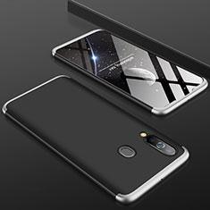 Samsung Galaxy A60用ハードケース プラスチック 質感もマット 前面と背面 360度 フルカバー サムスン シルバー・ブラック