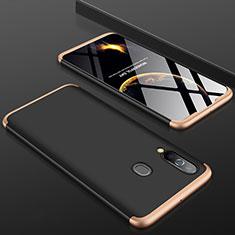 Samsung Galaxy A60用ハードケース プラスチック 質感もマット 前面と背面 360度 フルカバー サムスン ゴールド・ブラック