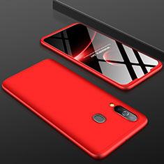 Samsung Galaxy A60用ハードケース プラスチック 質感もマット 前面と背面 360度 フルカバー サムスン レッド