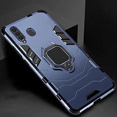 Samsung Galaxy A60用ハイブリットバンパーケース スタンド プラスチック 兼シリコーン カバー マグネット式 サムスン ネイビー