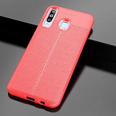 Samsung Galaxy A60用シリコンケース ソフトタッチラバー レザー柄 サムスン レッド