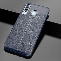 Samsung Galaxy A60用シリコンケース ソフトタッチラバー レザー柄 サムスン ネイビー