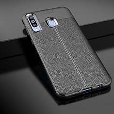 Samsung Galaxy A60用シリコンケース ソフトタッチラバー レザー柄 サムスン ブラック