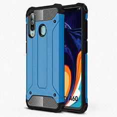 Samsung Galaxy A60用360度 フルカバー極薄ソフトケース シリコンケース 耐衝撃 全面保護 バンパー S01 サムスン ブルー