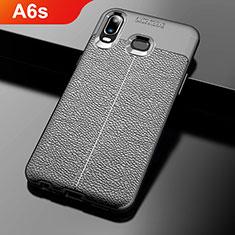 Samsung Galaxy A6s用シリコンケース ソフトタッチラバー レザー柄 サムスン ブラック