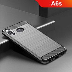 Samsung Galaxy A6s用シリコンケース ソフトタッチラバー ツイル カバー サムスン ブラック