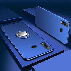 Samsung Galaxy A6s用極薄ソフトケース シリコンケース 耐衝撃 全面保護 アンド指輪 マグネット式 バンパー サムスン ネイビー