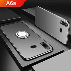Samsung Galaxy A6s用極薄ソフトケース シリコンケース 耐衝撃 全面保護 アンド指輪 マグネット式 バンパー サムスン ブラック
