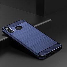 Samsung Galaxy A6s用シリコンケース ソフトタッチラバー ライン カバー サムスン ネイビー