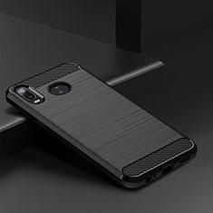 Samsung Galaxy A6s用シリコンケース ソフトタッチラバー ライン カバー サムスン ブラック