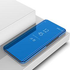 Samsung Galaxy A6s用手帳型 レザーケース スタンド カバー 鏡面 カバー サムスン ネイビー
