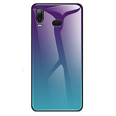 Samsung Galaxy A6s用ハイブリットバンパーケース プラスチック 鏡面 虹 グラデーション 勾配色 カバー サムスン シアン