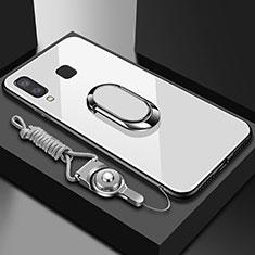 Samsung Galaxy A6s用360度 フルカバーハイブリットバンパーケース クリア透明 プラスチック 鏡面 アンド指輪 マグネット式 サムスン ホワイト