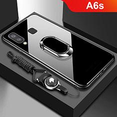 Samsung Galaxy A6s用360度 フルカバーハイブリットバンパーケース クリア透明 プラスチック 鏡面 アンド指輪 マグネット式 サムスン ブラック