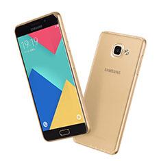 Samsung Galaxy A7 (2016) A7100用極薄ソフトケース シリコンケース 耐衝撃 全面保護 クリア透明 サムスン ゴールド