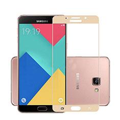 Samsung Galaxy A7 (2016) A7100用強化ガラス フル液晶保護フィルム サムスン ゴールド