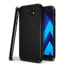 Samsung Galaxy A7 (2017) A720F用極薄ソフトケース シリコンケース 耐衝撃 全面保護 クリア透明 H01 サムスン ブラック