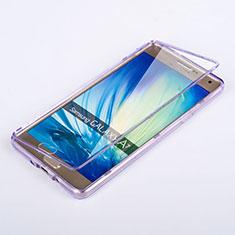 Samsung Galaxy A7 Duos SM-A700F A700FD用ソフトケース フルカバー クリア透明 サムスン パープル