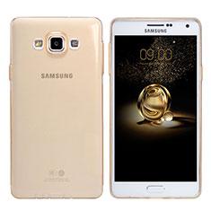 Samsung Galaxy A7 SM-A700用極薄ソフトケース シリコンケース 耐衝撃 全面保護 クリア透明 T03 サムスン ゴールド