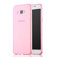 Samsung Galaxy A7 SM-A700用極薄ソフトケース シリコンケース 耐衝撃 全面保護 クリア透明 サムスン ピンク
