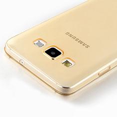 Samsung Galaxy A7 SM-A700用極薄ソフトケース シリコンケース 耐衝撃 全面保護 クリア透明 サムスン ゴールド