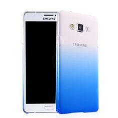 Samsung Galaxy A7 SM-A700用ハードケース グラデーション 勾配色 クリア透明 サムスン ネイビー