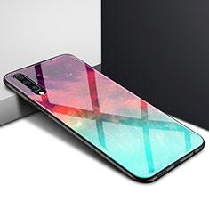 Samsung Galaxy A70用ハイブリットバンパーケース プラスチック パターン 鏡面 カバー サムスン シアン