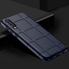 Samsung Galaxy A70用360度 フルカバー極薄ソフトケース シリコンケース 耐衝撃 全面保護 バンパー S01 サムスン ネイビー