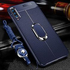Samsung Galaxy A70用シリコンケース ソフトタッチラバー レザー柄 アンド指輪 マグネット式 サムスン ネイビー