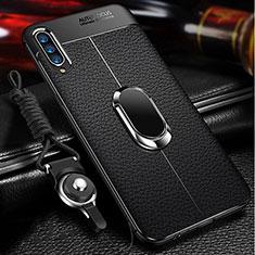 Samsung Galaxy A70用シリコンケース ソフトタッチラバー レザー柄 アンド指輪 マグネット式 サムスン ブラック