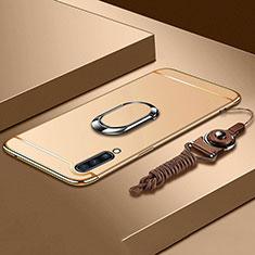 Samsung Galaxy A70用ケース 高級感 手触り良い メタル兼プラスチック バンパー アンド指輪 亦 ひも サムスン ゴールド