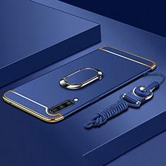 Samsung Galaxy A70用ケース 高級感 手触り良い メタル兼プラスチック バンパー アンド指輪 亦 ひも サムスン ネイビー