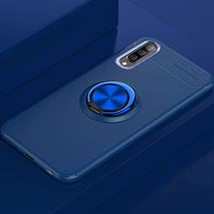 Samsung Galaxy A70用極薄ソフトケース シリコンケース 耐衝撃 全面保護 アンド指輪 マグネット式 バンパー サムスン ネイビー