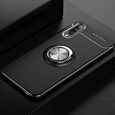 Samsung Galaxy A70用極薄ソフトケース シリコンケース 耐衝撃 全面保護 アンド指輪 マグネット式 バンパー サムスン ブラック