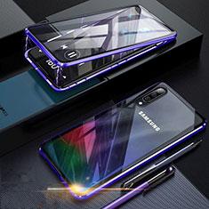 Samsung Galaxy A70用ケース 高級感 手触り良い アルミメタル 製の金属製 360度 フルカバーバンパー 鏡面 カバー サムスン ネイビー