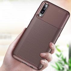 Samsung Galaxy A70用シリコンケース ソフトタッチラバー ツイル カバー サムスン ブラウン