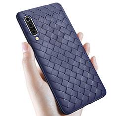 Samsung Galaxy A70用シリコンケース ソフトタッチラバー レザー柄 サムスン ネイビー
