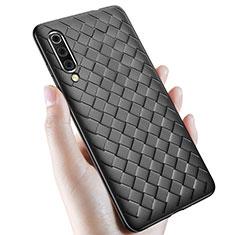 Samsung Galaxy A70用シリコンケース ソフトタッチラバー レザー柄 サムスン ブラック