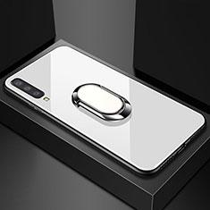 Samsung Galaxy A70用ハイブリットバンパーケース プラスチック 鏡面 カバー アンド指輪 マグネット式 サムスン ホワイト