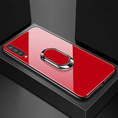 Samsung Galaxy A70用ハイブリットバンパーケース プラスチック 鏡面 カバー アンド指輪 マグネット式 サムスン レッド