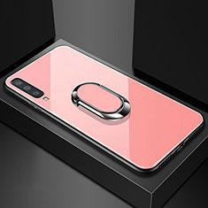 Samsung Galaxy A70用ハイブリットバンパーケース プラスチック 鏡面 カバー アンド指輪 マグネット式 サムスン ローズゴールド