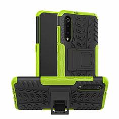 Samsung Galaxy A70用ハイブリットバンパーケース スタンド プラスチック 兼シリコーン カバー R01 サムスン グリーン