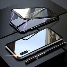 Samsung Galaxy A70用ケース 高級感 手触り良い アルミメタル 製の金属製 360度 フルカバーバンパー 鏡面 カバー T02 サムスン ブラック