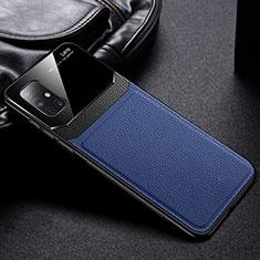 Samsung Galaxy A71 5G用シリコンケース ソフトタッチラバー レザー柄 カバー サムスン ネイビー