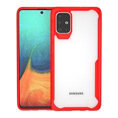 Samsung Galaxy A71 5G用ハイブリットバンパーケース クリア透明 プラスチック 鏡面 カバー サムスン レッド